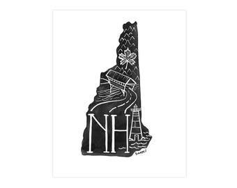 New Hampshire State Print // 1canoe2 // Modern Art Print