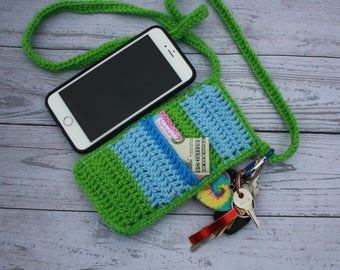 Cross body crochet cell phone pouch, cell phone purse, crochet cell phone bag, smart  phone holder, cell phone holder, cell phone case