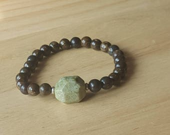 Men's beaded stretch stone bracelet, brown 8mm round jasper stone, stackable, arm candy, mens fashion, mens gift, green stone, silver bead