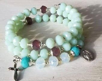 Rosary bracelet, beaded rosary, rosary wrap, memory wire wrap rosary, catholic prayer beads, confirmation gift, first communion gift