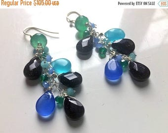 QUICKIE SALE 15% OFF, Blue Sandstone, Chalcedony, Green Onyx Earrings, Long Gemstone Earrings, Starlight Frolic Dangle Earrings