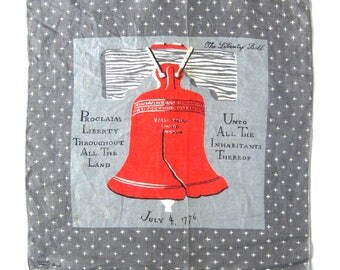Vintage Tammis Keefe Handkerchief / Liberty Bell Philadelphia Series / See America First Collection / Collectible Hankie / Philly Town