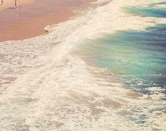 Hermosa Beach photo, ocean wave photograph, blue wall art, beach photography, cottage decor, California artwork, seascape print, SoCal art