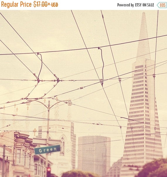 SALE San Francisco photography, photo of San Fran, Transamerica Pyramid architecture downtown, cable car neutral milk white cream, summer tr