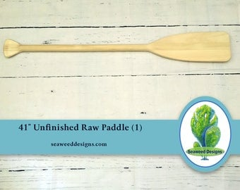 "41"" Paddle Raw Wood (1) for Nautical Wedding Guest Book / Nautical Nursery / Beach Wedding / Oar / Lake Wedding / Cabin / Made In USA /Canoe"