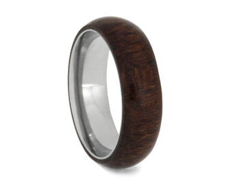 Men's Wood Wedding Band, Titanium Ring Overlaid With Caribbean Rosewood, Simple Wood Ring