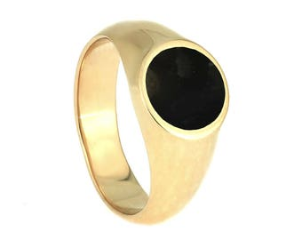 Springbok Horn Signet Ring In 10k Yellow Gold, Trophy Jewelry For Hunters