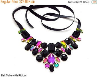 ON SALE Black Rhinestone Bib Necklace, Colorful Rhinestone Bib Necklace, Elegant Fashion Bib Necklace, Black Rainbow Statement Necklace