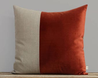Velvet Colorblock Pillow Cover in Rust and Natural Linen by JillianReneDecor, Modern Home Decor, Two Tone Color Block Pillow