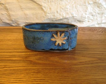 Handmade bright blue soap/sponge holder or business card holder