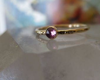 Rose Cut Amethyst and Gold Filled Ring