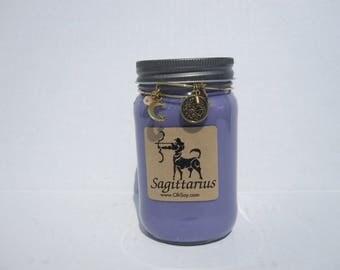 Sagittarius Zodiac Soy Mason Jar Candle w/Charm Bracelet - 16oz OhSoy! Mason Sagittarius Horoscope Soy Candle