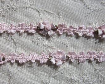 Pink Rococo Trim w Pink Satin Ribbon Rose Bud Flower Baby Scrapbook Quilt