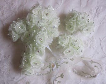 36 pc Chic Lime Juice Green Organza Ribbon Wired Rose Flower w rhinestone Christmas Holiday Bridal Wedding Favor Bow Hair Accessory Applique