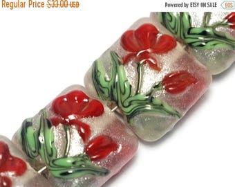 ON SALE 30% off Glass Lampwork Bead Set - Four Crimson Flower Pillow Beads 10706114