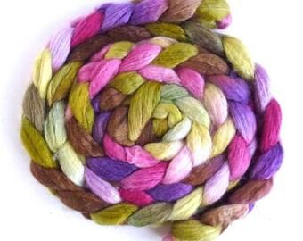 BFL/Silk Roving - Handpainted Spinning or Felting Fiber, First Bloom