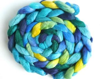 Parrot, Merino/ Silk Roving - Handpainted Spinning or Felting Fiber