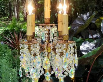 Antique Electric Candelabra, Vintage Crystal Candelabra, Vintage Crystal Girandole, Table Chandelier, Home Decor, Vintage Lighting