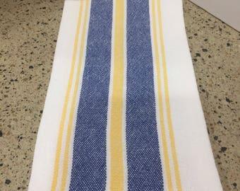 Handwoven dishtowel chef tea cotton linen white blue yellow stripe