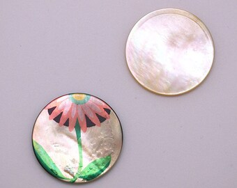 Printed mother of Pearl cabochon 35mm - flower pattern