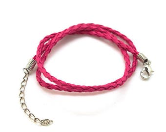 Imitation - 3mm - with clasp - hot pink braided leather cord