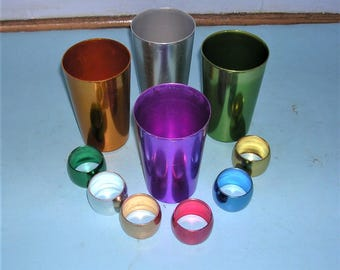 Vintage Bascal Aluminum Glasses Vintage Metal Glasses Plus Aluminum Napkin Rings