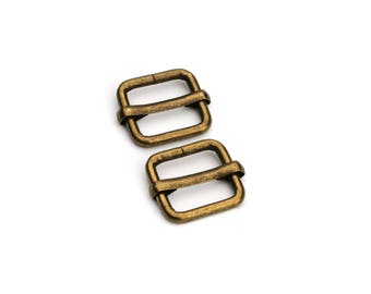 """100pcs - 1/2"""" Adjustable Slide Buckle - Antique Brass - Free Shipping (SLIDE BUCKLE SBK-106)"""
