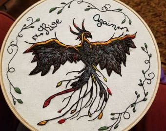 """8"""" Rise Again Phoenix Embroidery Wall Hanging"""