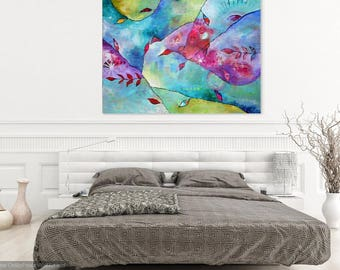 Large Original Abstract Painting Large Wall Art Colorful Vibrant Modern Art Intuitive Painting