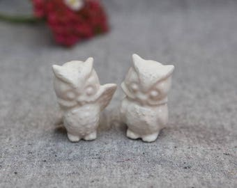 Owl Wedding Cake Topper - Two Little Owls in Stoneware with White Glaze