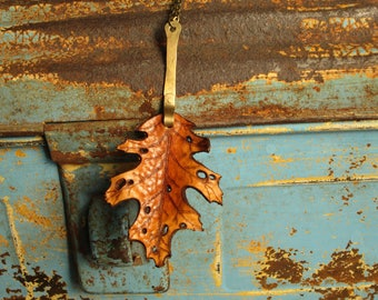 Leather Leaf Necklace Pendant Necklace Red Oak Leaf Handmade Brass Stem