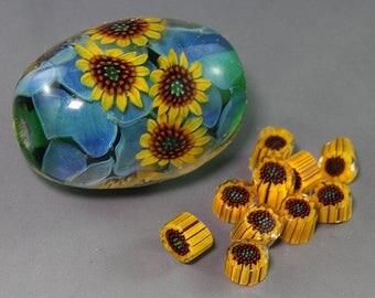 Handmade Lampwork Sunflower murrini for bead by Ikuyo SRA