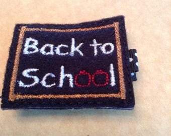 Embroidered Felt Black Chalk Board Hair Clip, Back To School, Girls Hair Bows, Girls Hair Clips, Toddlers Hair Clips (Item 16-256)