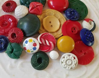 Vintage Buttons - Cottage chic fancy pierced mix of navy blue, green, red, mustard and white lot of 22 old and sweet( July411 17)