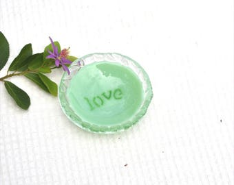Small fused glass bowl, love, light green, dark green, clear