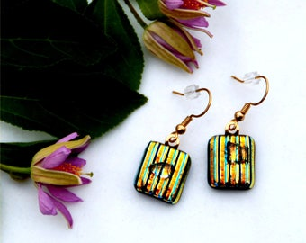 26 Gold striped dichroic fused glass earrings with a clear drop on top