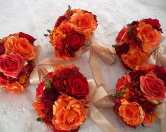 Reserved listing for.....denalafnear....Orange and Red Autumn and Fall Rich  Romantic Bridal   Destination Wedding Bouquet Set