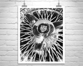 Jaguar Car, Wire Wheel Picture, Automobile Art, Black and White, Boyfriend Gift, Jaguar Picture, Automotive Art, 5x7, 8x10, Canvas Car Art