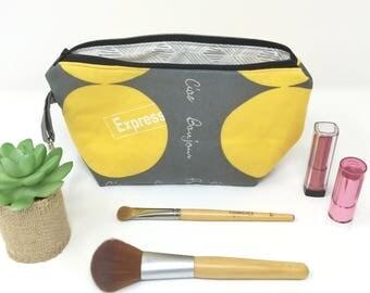 Cute Makeup Bag, Cute Cosmetic Bag, Accessory Bag, Travel Bag, Large Makeup Bag, Make Up Bag, French Makeup Bag, Gray Make up Bag