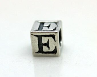 Sterling Silver Alphabet E Block Cube Square Bead 5.5mm Large Hole