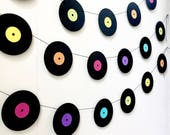 Music Garland - Party Decor - Music Decor - records - Vinyl - Photo Prop - Music Teacher Gift -Record Garland