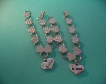 Aunt and Niece Heart Charm Bracelets  Jewelry Gift