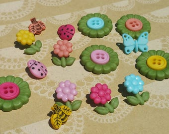 "Time to Blossom Buttons -  Flower Butterfly Ladybug Bee Sewing Button - 7/16"" to 13/16"" Wide - 14 Buttons"