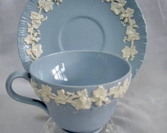 Vintage Blue Wedgwood Tea Cup and Saucer