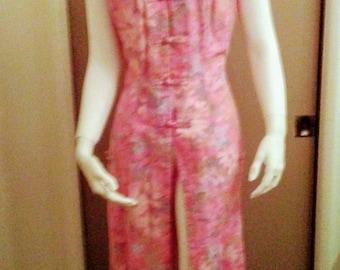 Vintage Hawaiian Asian Oriental Style Dress Side Slits Pink Hawaiian Casuals by Stan Hicks