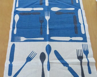 Vintage Kitchen Tea Towel  Startex Forks & Knives