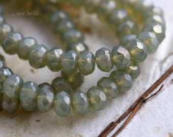 SILVERED SAGE BABIES No. 2 .. New 30 Picasso Czech Rondelle Opal Glass Beads 3x5mm (5906-st)