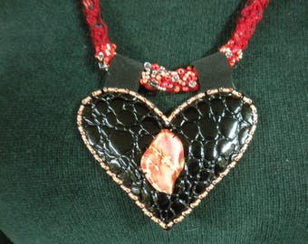"""FREE SHIP Black moc crock heart necklace with pink and red accents on a 24.5"""" chain  - BearlyArtDesigns"""