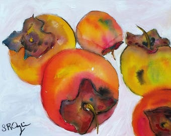 "Persimmons, 20"" w x 16"" h Original Painting"