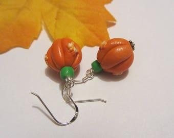 Cute Pumpkin Earrings Polymer Clay Fall Earrings Autumn Earrings Orange Fall Gifts Halloween Jewelry SRAJD